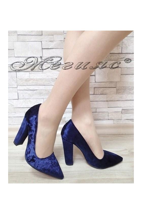 Дамски обувки 702 тъмно сини кадифе елегантни с дебел ток