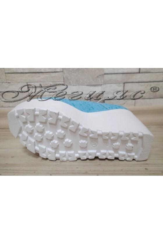 Дамски обувки 302 светло сини от текстил с висока платформа