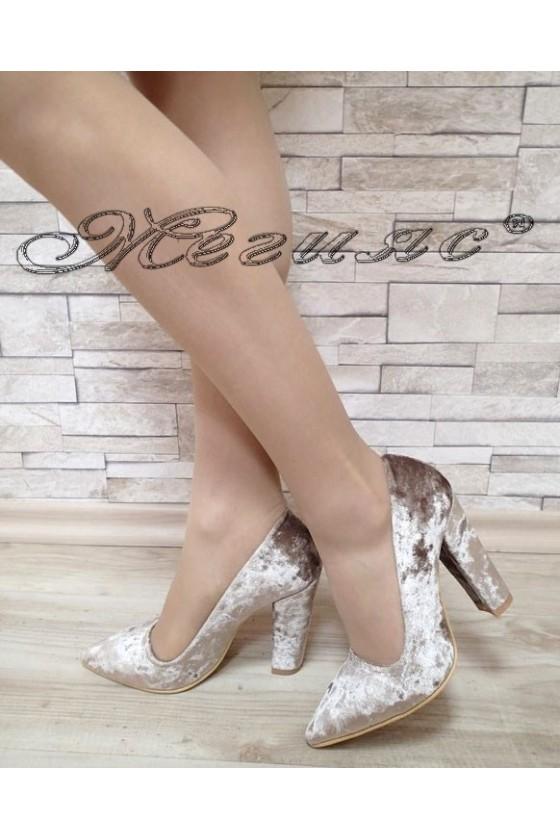 Дамски обувки 702 визон кадифе елегантни с дебел ток