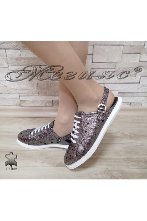 Lady sandals 3026 dk.silver leather