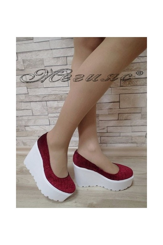 Дамски обувки 25-К бордо кадифе на платформа