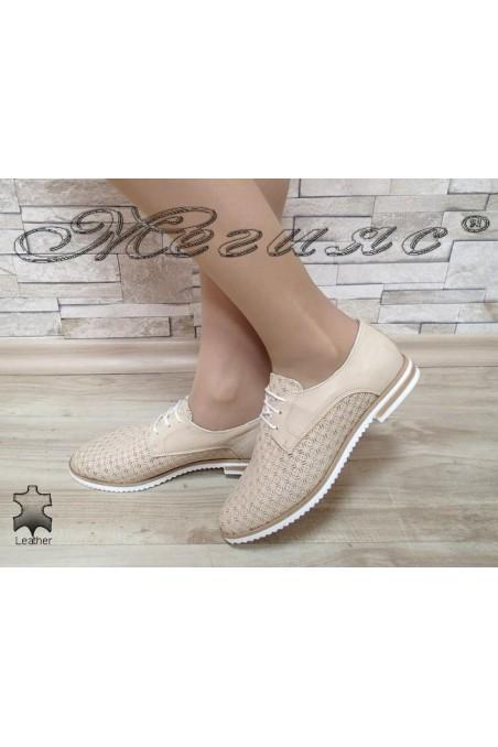 Women shoes 3112 beige leather