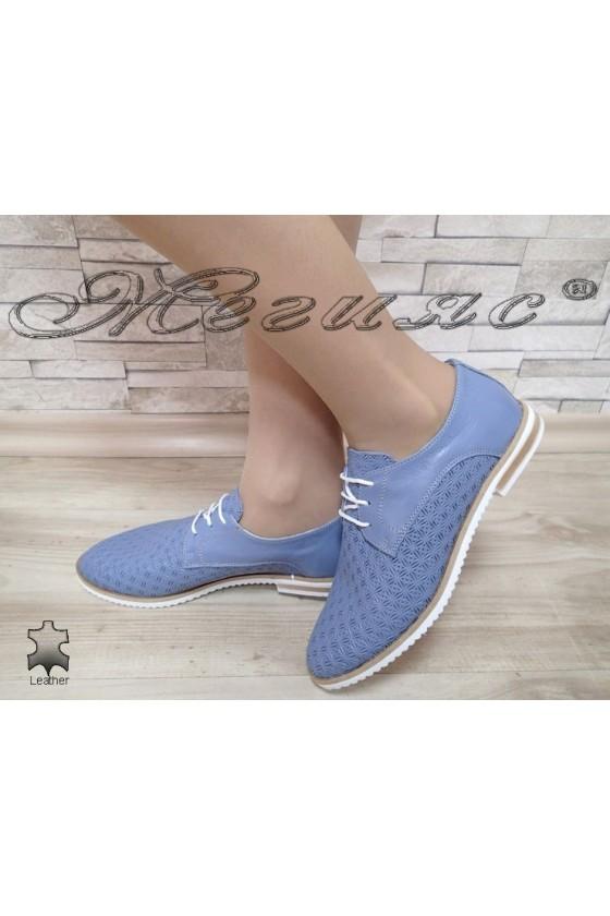 Дамски обувки 3112 светло сини от естествена кожа