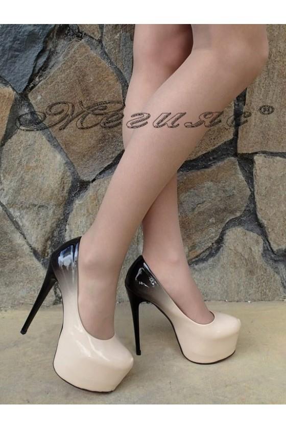 Дамски елегантни обувки 50-2017 бежова с черно преливащ лак висок ток