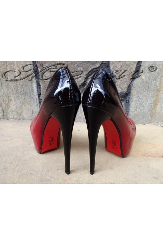 Lady elegant shoes 50 red/black patent with high heel