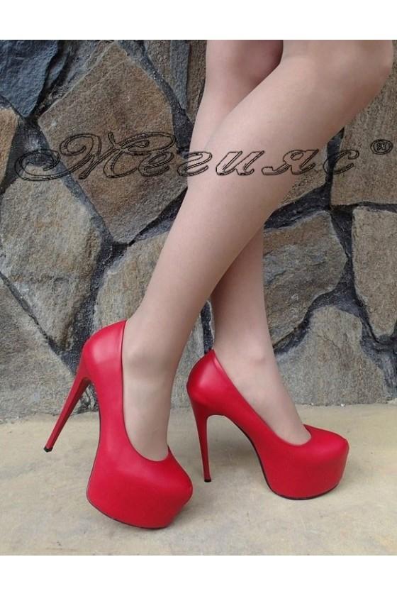 Дамски елегантни обувки 50-2017 червен еко кожа висок ток