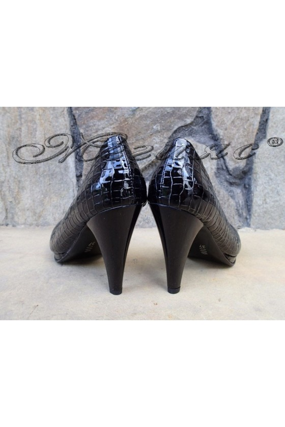 Lady elegant shoes 510 black patent with high heel