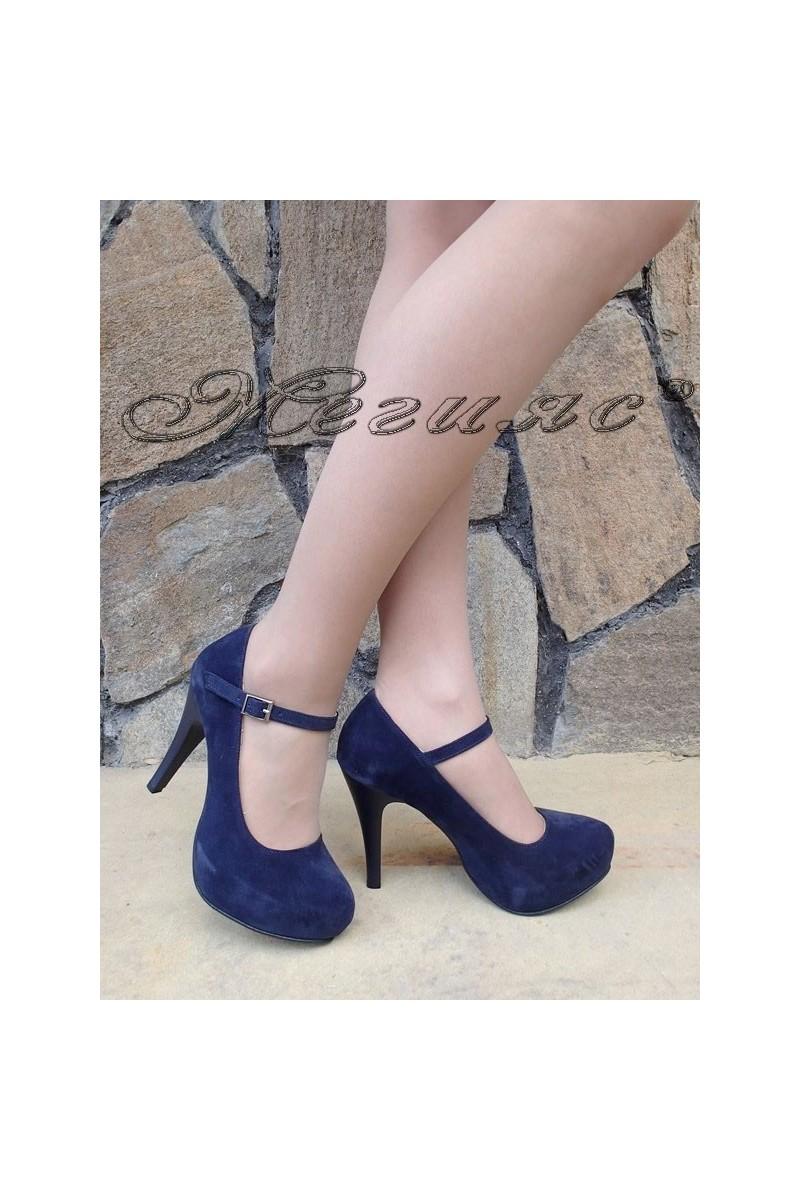 Дамски обувки 520-ато сини от еко набук с висок ток елегантни