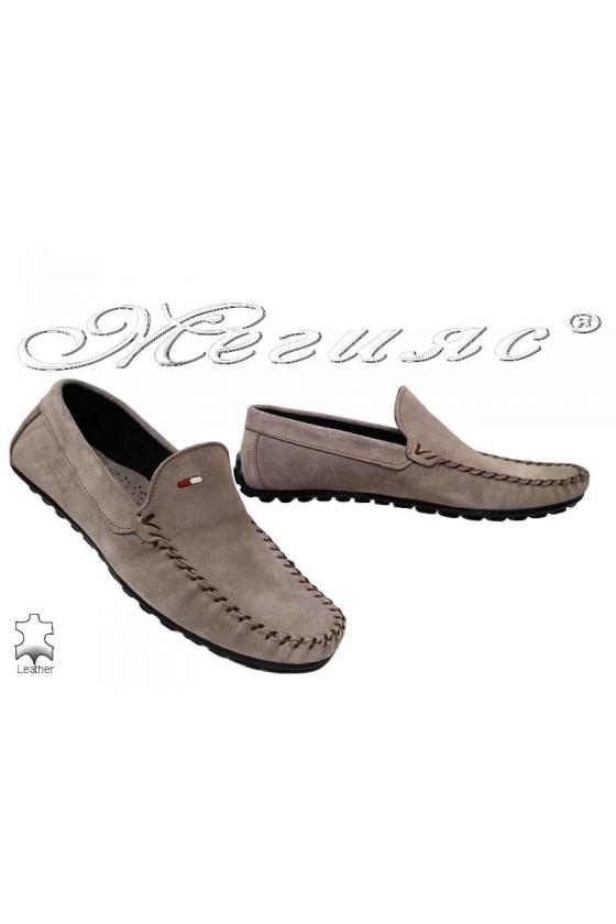 Мъжки обувки 02 бежови от естествен велур