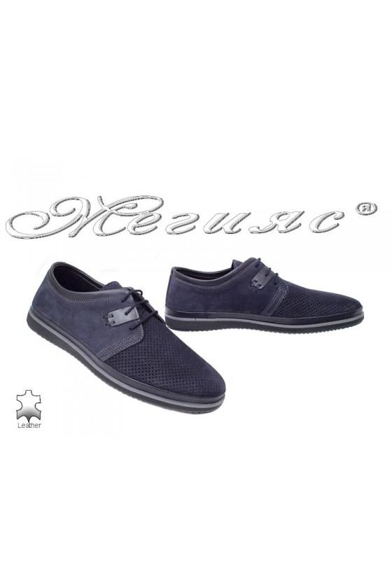 Мъжки обувки сини с перфорация от естествен набук