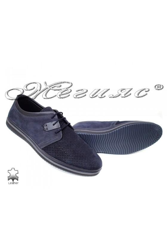 Мъжки обувки сини с перфорация от естествен набук Фантазия 18400-1