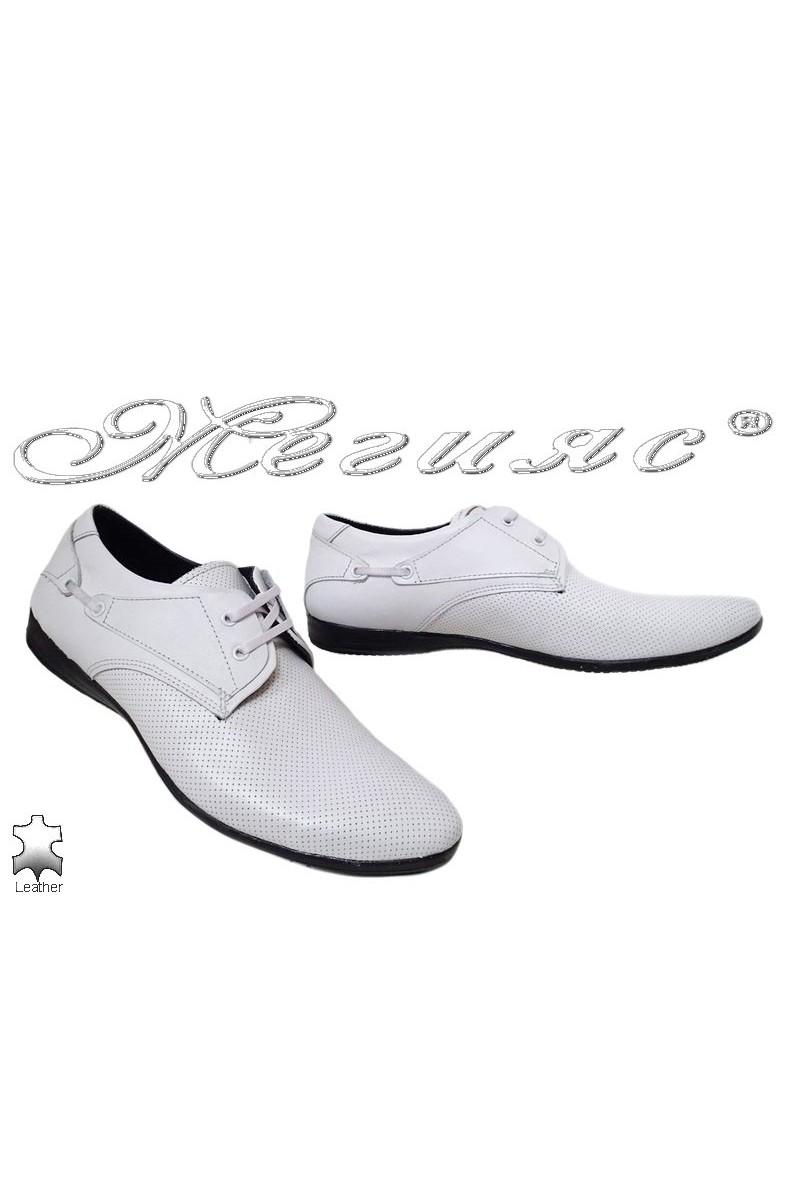 Мъжки обувки Тренд 432 бели от естествена кожа