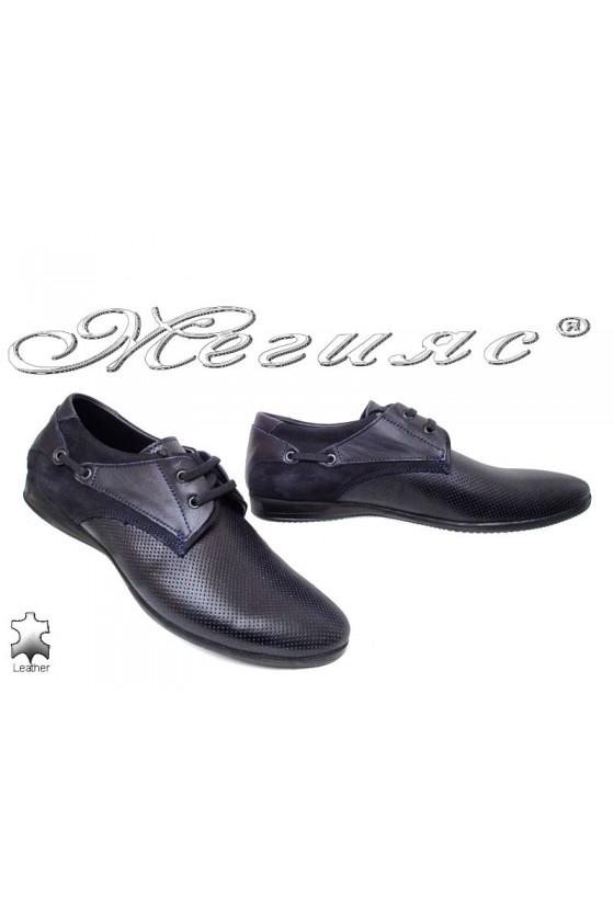 Мъжки обувки Тренд 432 тъмно сини от естествена кожа
