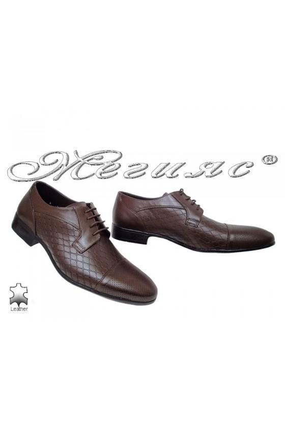 Мъжки обувки Фантазия 106-606 тъмно кафяви от естествена кожа елегантни