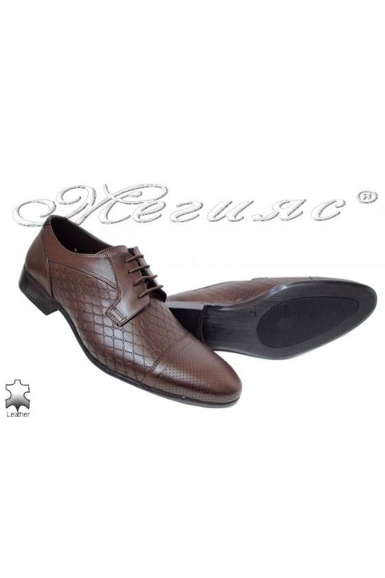 Мъжки обувки елегантни от естествена кожат кафяви Фантазия 106-606