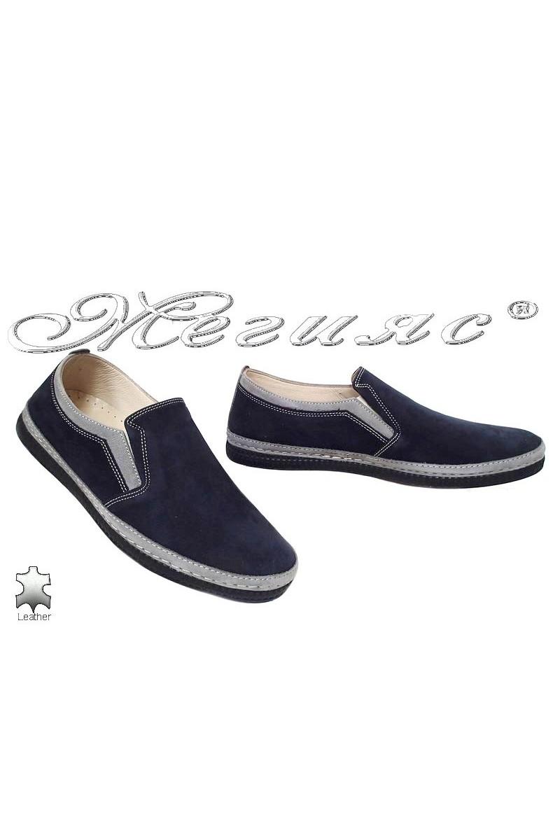 Мъжки обувки Пъфи 787 сини набук със сиво тип мокасини от естествена кожа