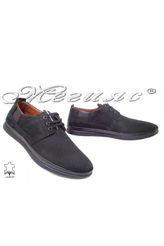 Мъжки обувки 702 черни от естествен набук