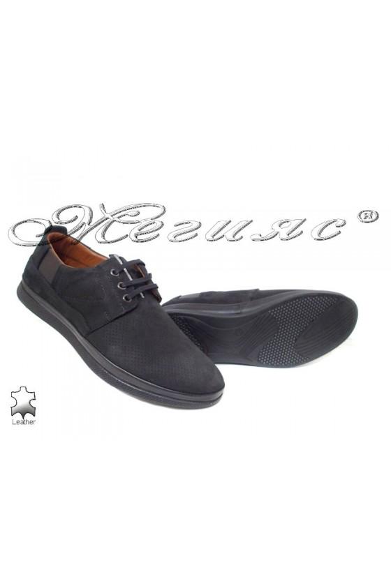 Men's shoes 702 black suede leather