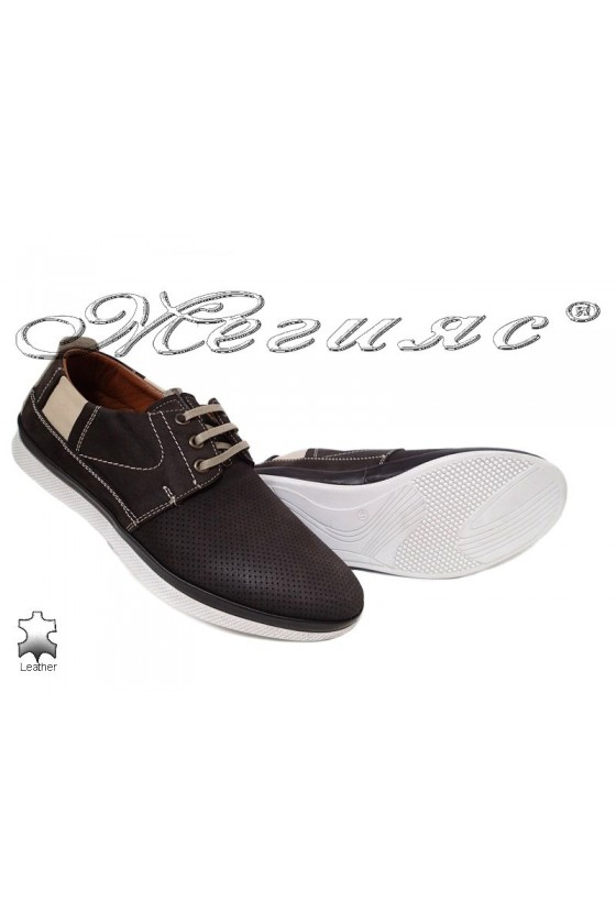 Men's shoes 702 dark brown leather