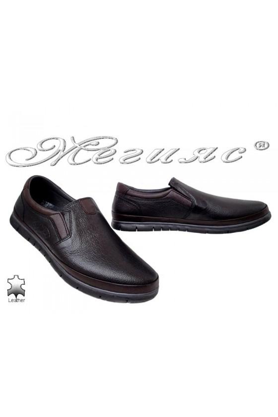 Мъжки обувки Пъфи 778-14-29 тип мокасини от естествена кожа