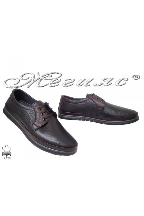 Мъжки обувки Пъфи 780-14-29 тип мокасина с връзки от естествена кожа черен цвят в комбинация с бордо