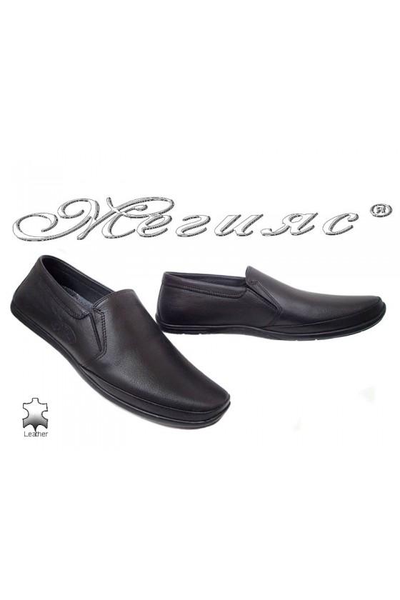 Мъжки обувки Пъфи 739-14 тип мокасини черни от естествена кожа