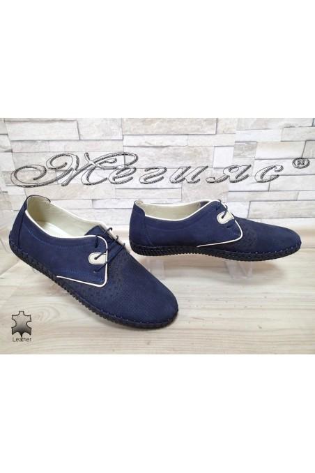 Мъжки обувки 200/031/05 сини набук от естествена кожа
