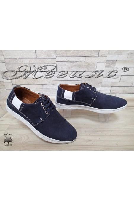 Мъжки обувки 702 тъмно сини с връзки от естествен набук