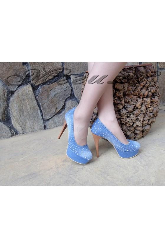 Дамски обувки 942/1871 дънкови елегантни с висок ток
