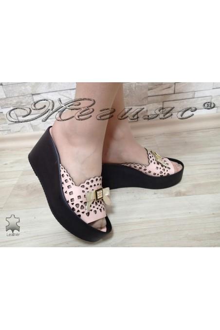 Women platform sandals 581 rose leather