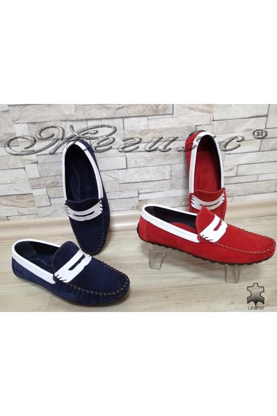 Мъжки обувки 01 тъмно синьо/червено тип мокасини от естествен велур