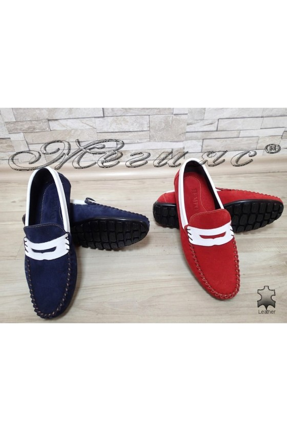 Men's shoes 05 red/blue suede leather