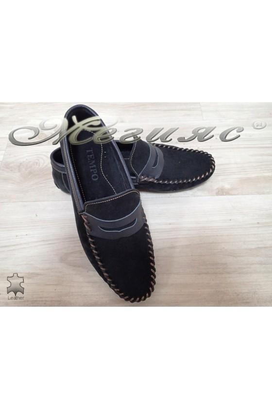 Мъжки обувки 05 черни  тип мокасини от естествен велур