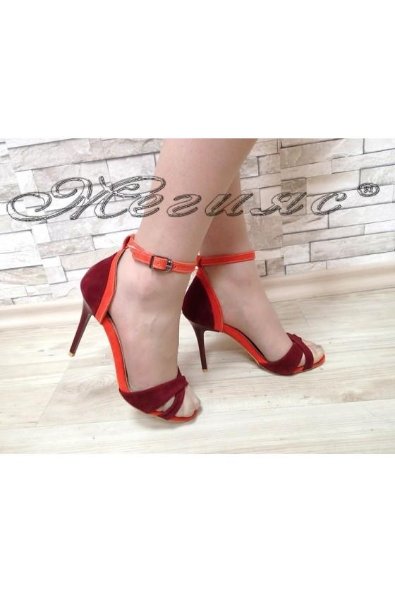 Дамски сандали 1138 бордо с оранжево антни на висок ток