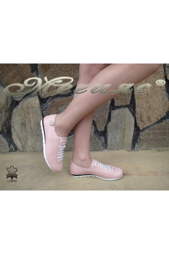 Дамски обувки 3116 пудра гладка кожа спортни с връзки от естествена кожа