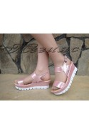 ladies sandals 334 pink with a platform