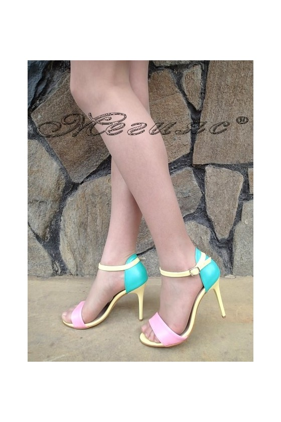 Дамски сандали 374 мента/розово/жълто от еко кожа елегантни на висок ток