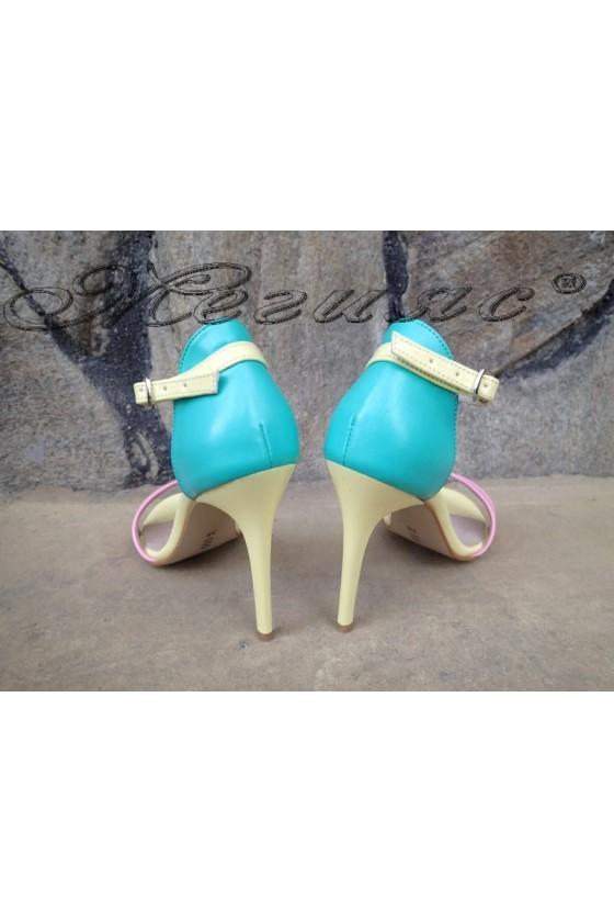 Women elegant sandals 374 yellow/green/rose pu