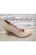 Дамски обувки XXL А-700 гигант бежови лак от еко кожа на среден ток