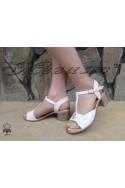 Дамски сандали 1009-604 бяло с бежово от естествена кожа на широк ток