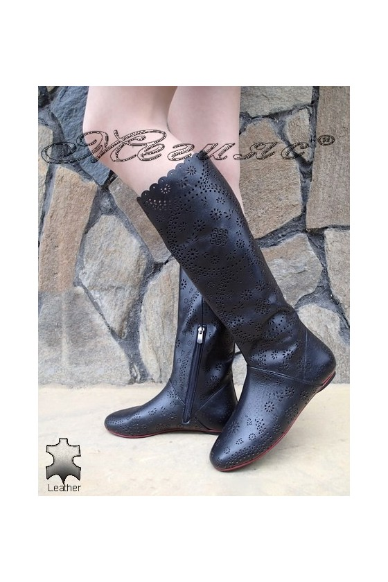 Ladies summer boots XXL 06-F black leather