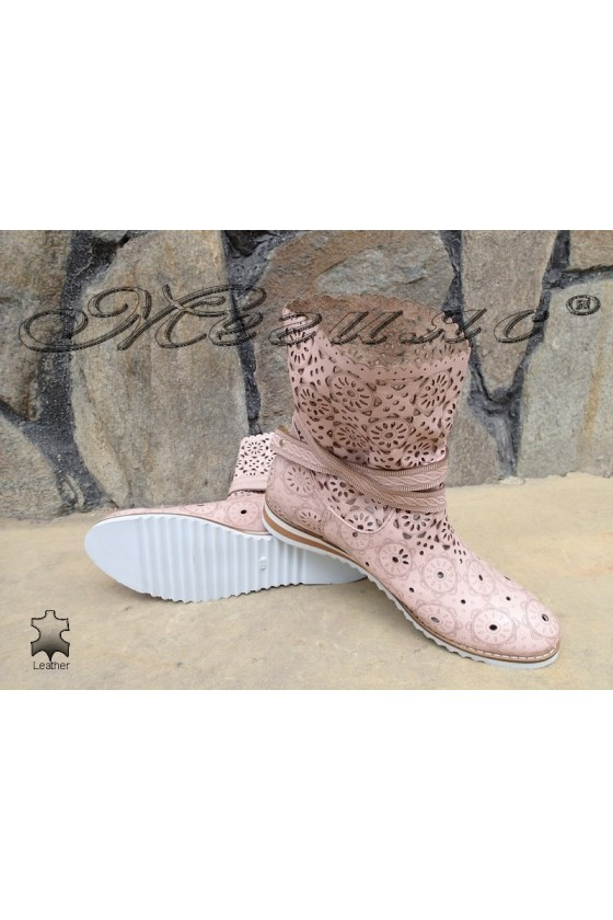 Women summer boots 03-F rose leather