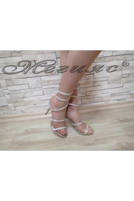 Дамски сандали Linda 1720-23 сребърни елегантни на ток