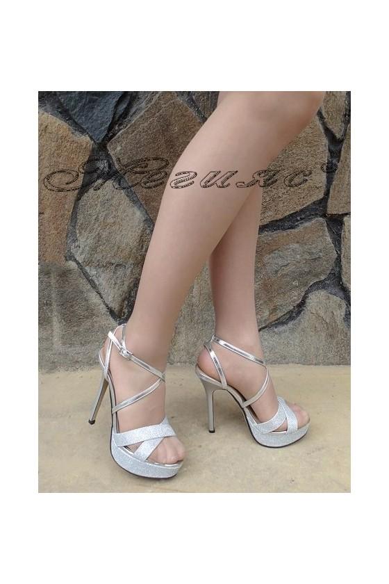 Дамски сандали Stella 1720-204 сребристи от текстил на висок ток и платформа