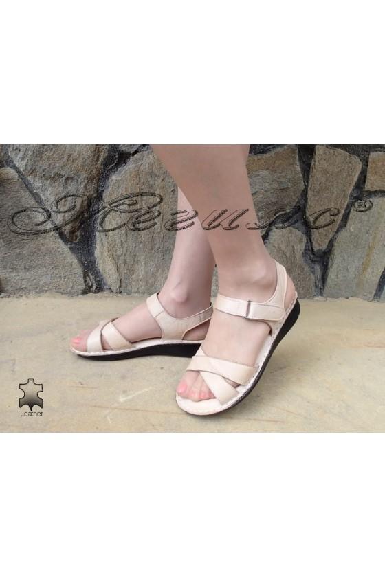 Women sandals 01410 beige leather