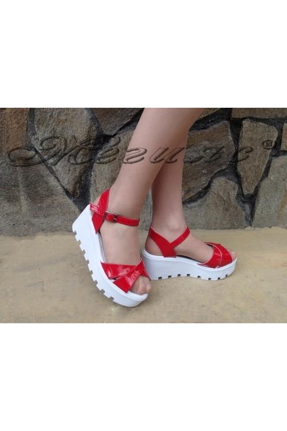 Lady platform sandals 97 red patent