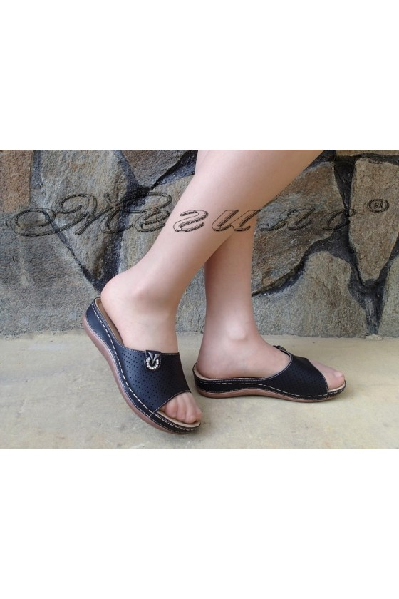Дамски чехли Betty S1720-71 черни от еко кожа