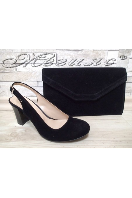 Комплект дамски сандали 405 черни велур с чанта 702