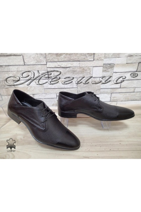 Men's elegant shoes 8016-57-1 black leather