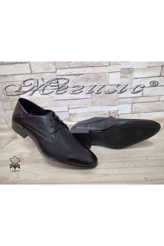 Мъжки/юношески обувки Фантазия 8016-57-1 черни мат елегантни от естествена кожа